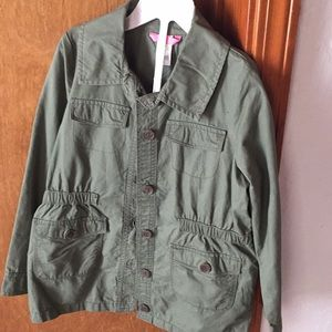 NWOT Carter's Army Green Button Up Top Girls 8